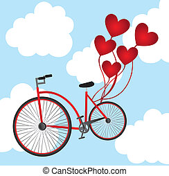 bicycle with balloons - old bicycle with heart balloons over...