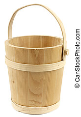 Wooden bucket isolated on white background