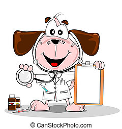 Cartoon doctor vet - A cartoon dog doctor or vet with...