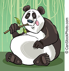 panda bear - cartoon illustration of funny giant panda bear