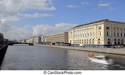 Tour Boat in the inland river in St. Petersburg, Russia