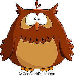 Owl on a white background, vector illustration