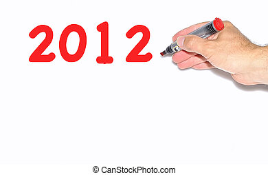 2012 on a white background. - 2012 written with red marker.