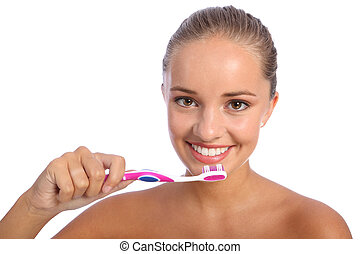 Cleaning teeth with toothbrush for happy girl