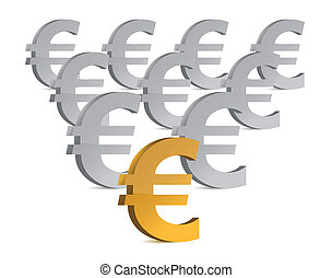 golden and silver euro symbols