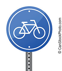 Blue bike road street sign on white background