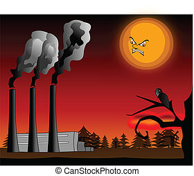 Air pollution - Moon is angry about human air pollution
