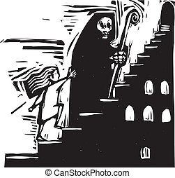 Stairway Death - small child following the image of death up...