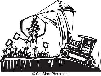 Protest Crane - crane breaks up a protest in authority...