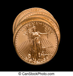 Stack of golden eagle coins - Gold Eagle one ounce coins in...