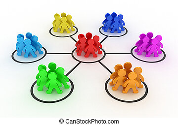 The teamwork - Illustration of interaction of different...