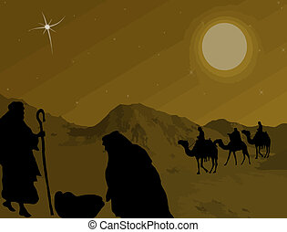 Christmas Nativity scene - Illustration of traditional...