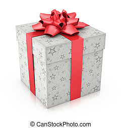Special Gift - Gift with star prints and textured red ribbon...