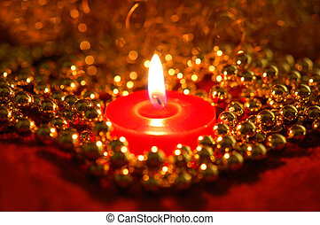 Christmas background - Candle with christmas decorations as...