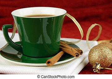Christmas morning - Coffee cup with cinnamon and christmas...