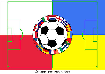 ball with field in colors of Poland and Ukraine