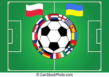 football ball with field and flags