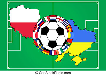 football ball with contours of Poland and Ukraine