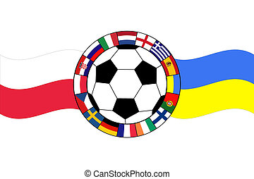 football ball with flags of Poland and Ukraine