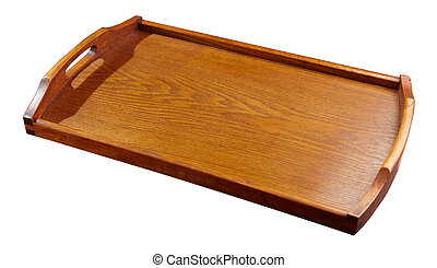 empty woody tray with white background