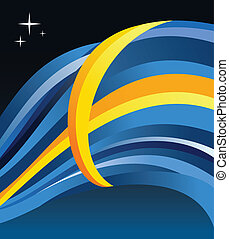 Sweden flag illustration fluttering on blue background...