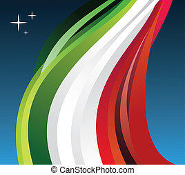 Mexico flag illustration fluttering on blue background....