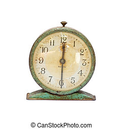 old clock - vintage old clock isolated