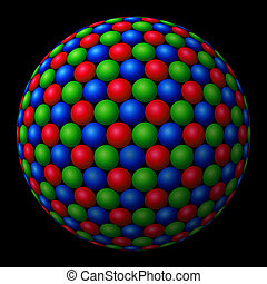 A cluster of red, green and blue (RGB) spheres forming a larger fractal sphere on black background