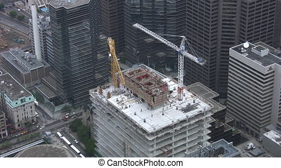 Construction cranes Timelapse shot - Timelapse shot of...