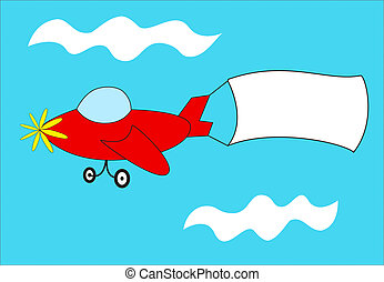 Red airplane pulls blank banner - A cartoon airplane with a...