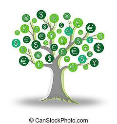 Money green tree growing currency - Green tree growing...