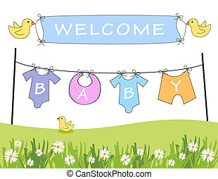 Welcome baby announcement - Baby arrival announcement with...
