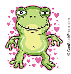 green frog vector  - happy smile love green frog vector