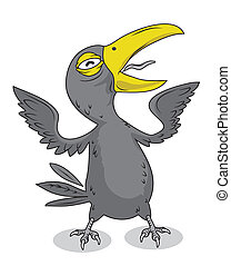Crow Bird vector - Crow Bird Character vector