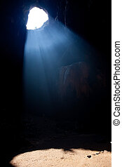 Sun rays in cave of Thailand