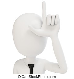 3d man businessman with loser sign on white background