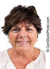 Portrait of a woman in her sixties - Close-up portrait of...