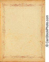 Vintage stained paper with floral border - Photo of old...