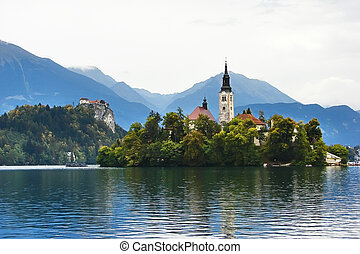Alpine lake in Bled, Slovenia