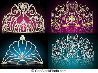 set diadems feminine wedding - illustration set diadems...
