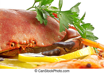 Crab  on a platter