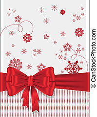 Red bow with snowflakes