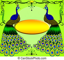 Two peacocks with message on green background.