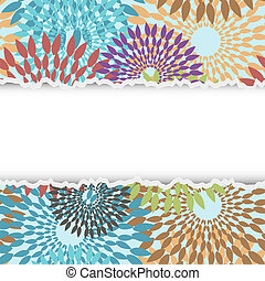 Vector torn piece of flowers paper with place for your text
