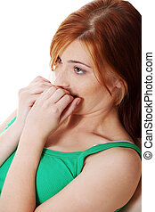 Frightened teen girl - Young caucasian pretty frightened...
