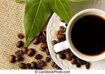 café, escena, semillas, granos, especias