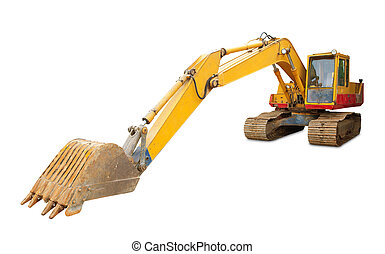 backhoe isolated - Old backhoe isolated on white background