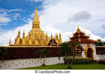 Wat Pha-That Luang - Golden pagada in Wat Pha-That Luang,...