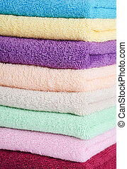 The combined color towels as a background
