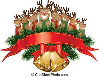 christmas reindeer with christmas bells - vector christmas...